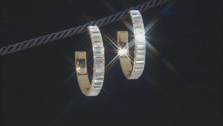 Gold Tone White Crystal Hoop Earrings