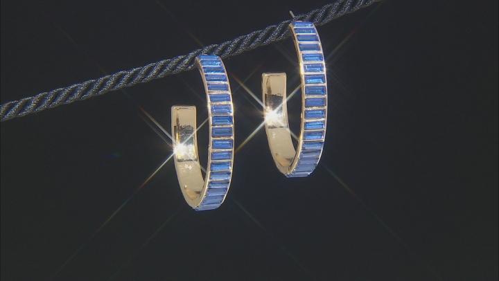 """Gold Tone Blue Crystal Hoop Earrings"""""""