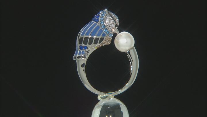 Silver Tone Crystal  Blue Bird Ring