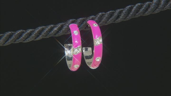 White Crystal, Multi-color Enamel Silver Tone Earrings Set of 3