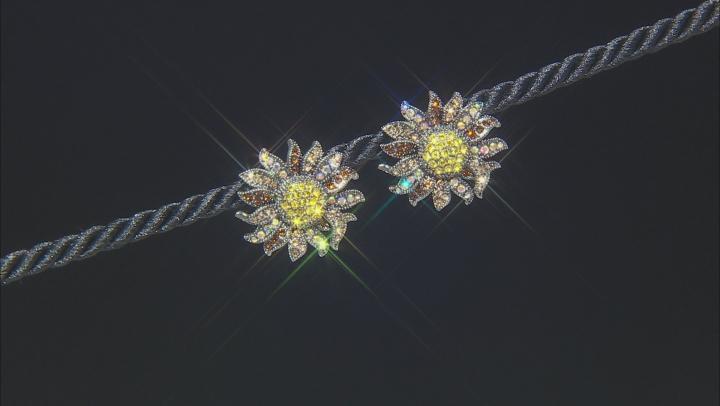 Multi color Swarovski Elements ™ Gunmetal Tone Sunflower Stud Earrings