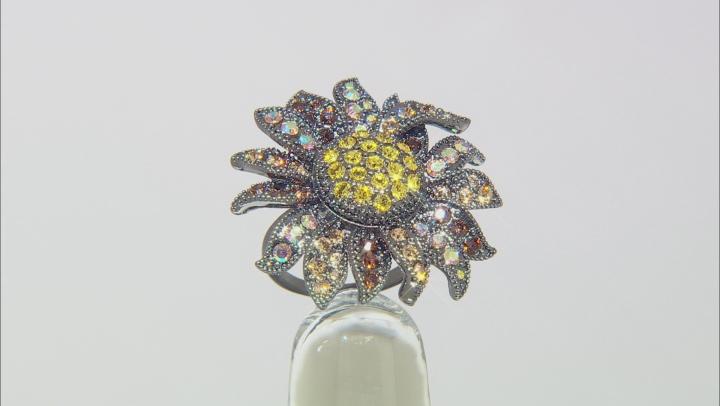 Multi color Swarovski Elements ™ Gunmetal Tone Ring