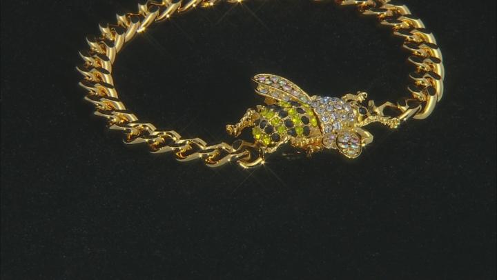 Gold Tone Multi-Color Crystal Bee Bracelet