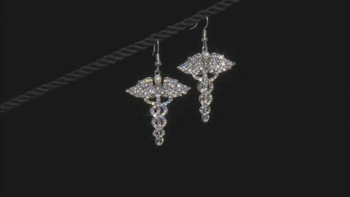White Crystal Silver Tone Caduceus Earrings