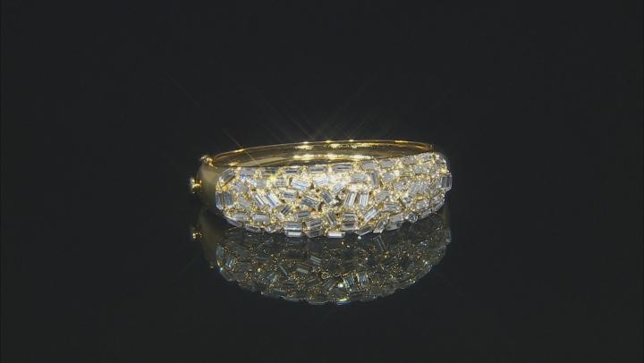 Gold Tone Clear Crystal Multi Shape Bangle Bracelet