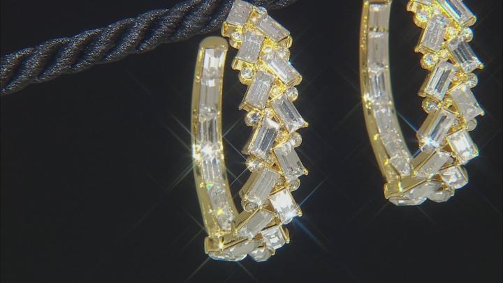 Gold Tone Clear Crystal Multi Shape Hoop Earrings