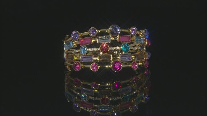Round Multi-Color Crystal Gold Tone Cuff