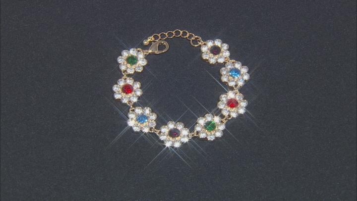 Multi-Color Crystal Gold Tone Bracelet