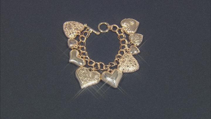 Gold Tone Heart Charm Bracelet