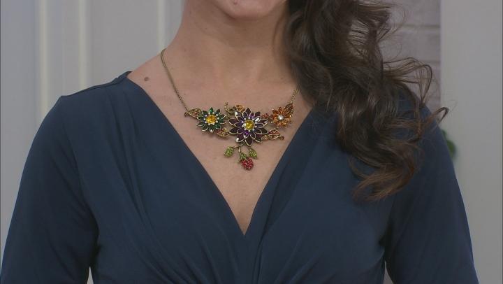 Antiqued Gold Tone Crystal Floral Necklace