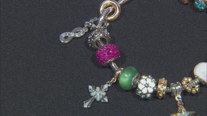 Gold Tone Multi Color Crystal Sentiments Themed Charm Bracelet