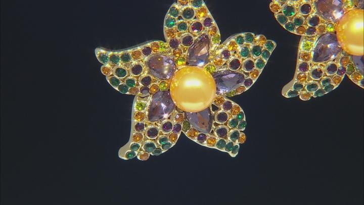 Gold Tone Crystal Flower Earrings