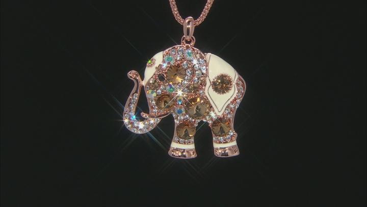 Champagne Swarovski Elements ™ Multi Crystal White Enamel Rose Tone Elephant Pendant With Chain