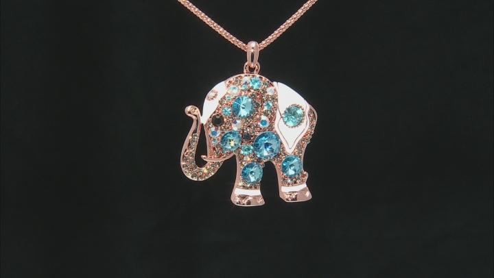 Off Park ® Blue Swarovski Elements ™Multicolor Crystal White Enamel Rose Tone Elephant Pendant