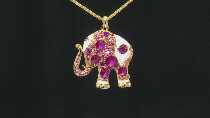 Multicolor Swarovski Elements ™ Pink Crystal White Enamel Gold Tone Elephant Pendant With Chain