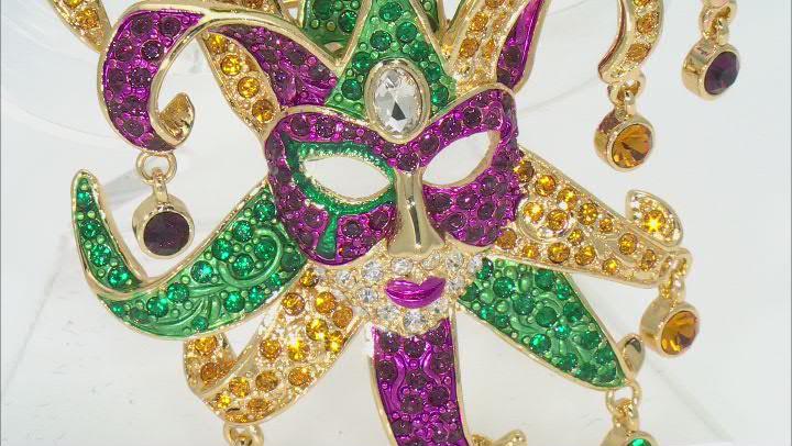 Multicolor Crystal Gold Tone Mardi Gras Mask Brooch