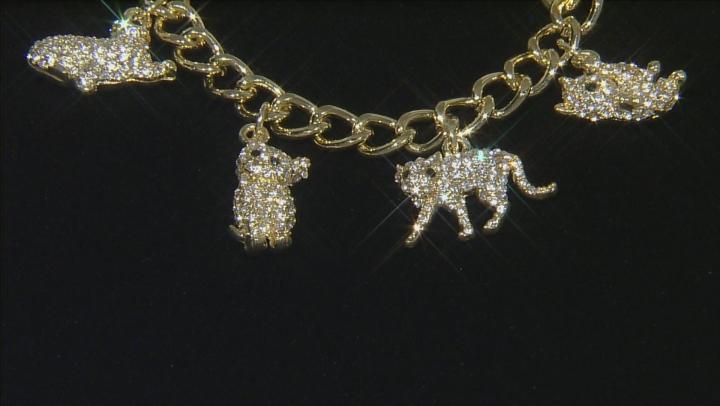 White Crystal Black Crystal Pearl Simulant Gold Tone Cat Charm Bracelet
