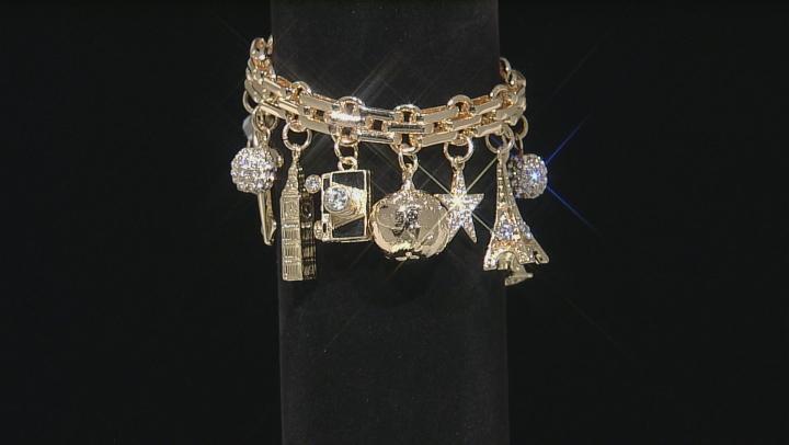 White Crystal Gold Tone Travel Charm Bracelet