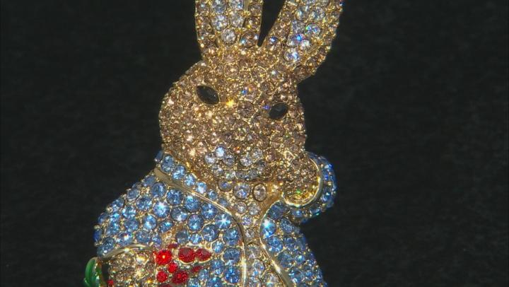 Multicolor Crystal Gold Tone Bunny Brooch