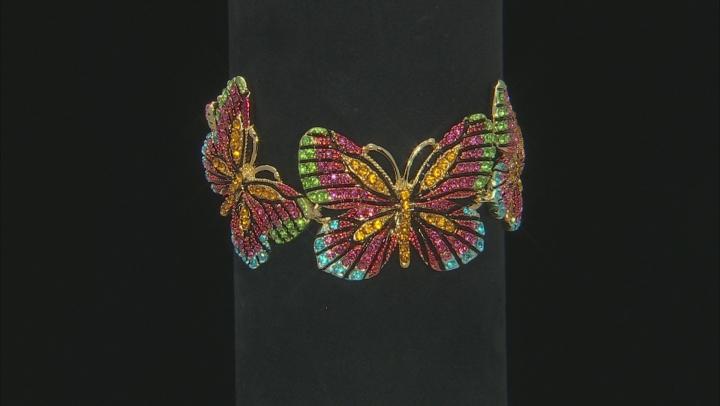 Multicolor Crystal Gold Tone Butterfly Bracelet