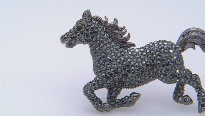 Black Swarovski Elements ™ Gunmetal Tone Horse Brooch