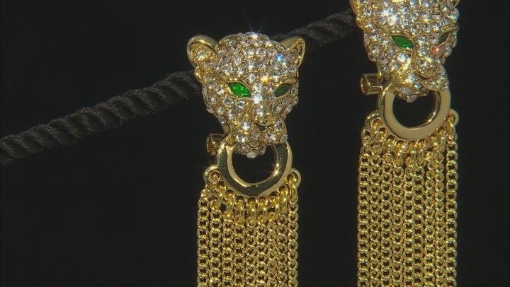 Multicolor Crystal Gold Tone Jaguar Dangle Earrings
