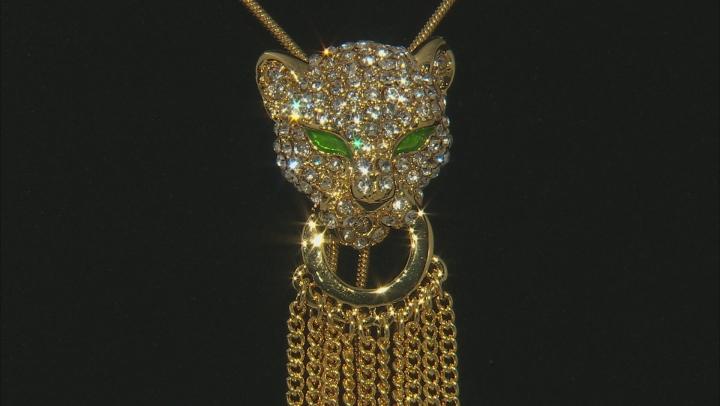 White Crystal Multicolor Enamel Gold Tone Sliding Adjustable Jaguar Necklace