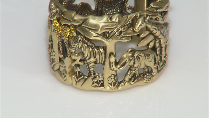 Multicolor Crystal Antiqued Gold Tone Safari Cuff Bracelet