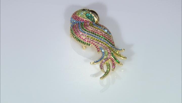 Multicolor Crystal Gold Tone Parrot Pendant Brooch