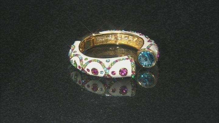 Multicolor Crystal Gold Tone Bangle Bracelet