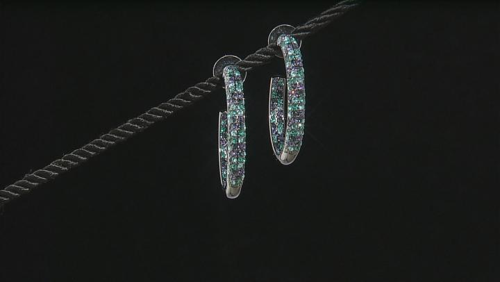 Blue Crystal Gunmetal Tone Hoop Earrings.