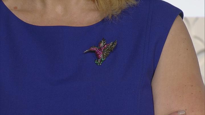 Multi Color Crystal, Antiqued Gold Tone Hummingbird Brooch Pendant.