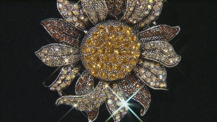 Gunmteal Tone Multicolor Sunflower Pin