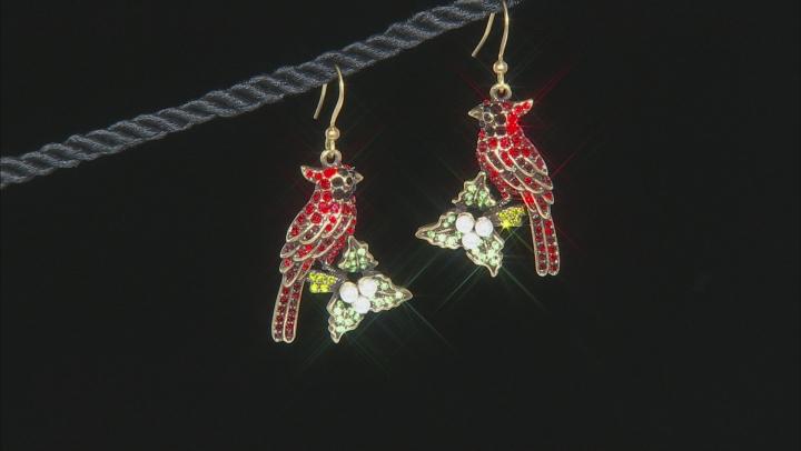 Multicolor Crystal Pearl Simulant Antiqued Gold Tone Cardinal Earrings