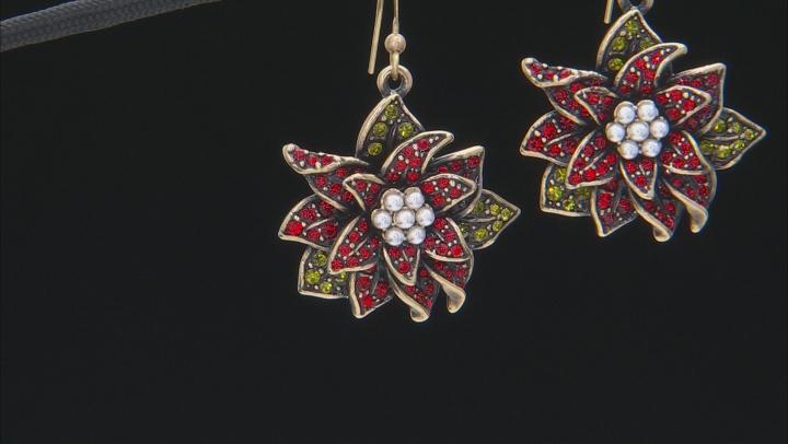 Multicolor Crystal Pearl Simulant Antiqued Gold Tone Poinsettia Earrings