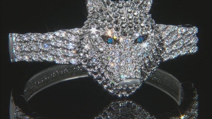 Multicolor Crystal Black Enamel Silver Tone Wolf Bracelet