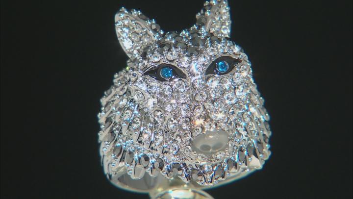 Multicolor Crystal Enamel Silver Tone Wolf Ring