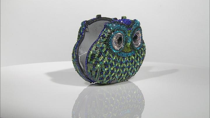 Multicolor Crystal Gunmetal Tone Owl Clutch
