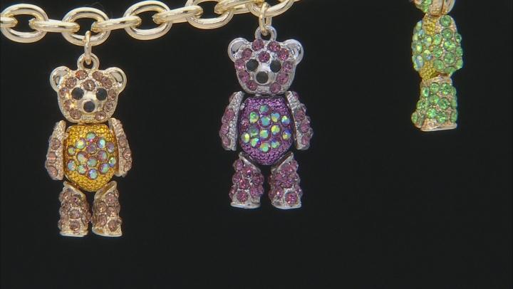 Multicolor Crystal Gold Tone Teddy Bear Bracelet