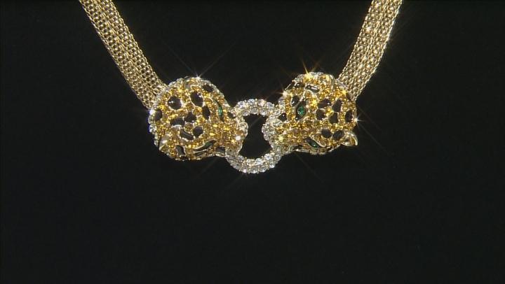 Multicolor Crystal Black Enamel Gold Tone Jaguar Necklace