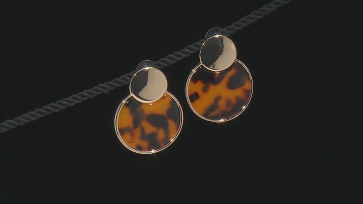 Tortoise Shell Pattern Resin Gold Tone Earrings