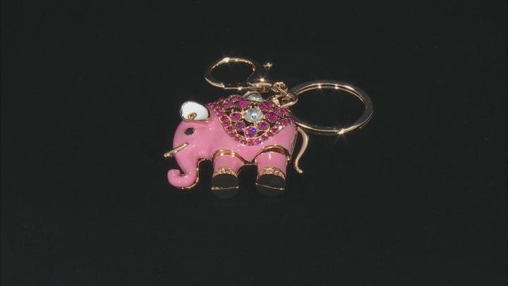 Multi Color Crystal Gold Tone Elephant Key Chain