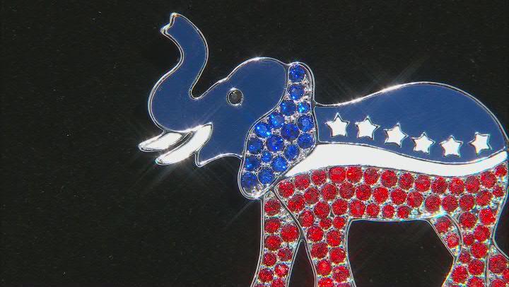 Red & Blue Crystal Silver Tone Elephant Brooch