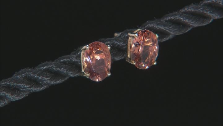Peach Oregon Sunstone 10k Yellow Gold Earrings 1.44ctw