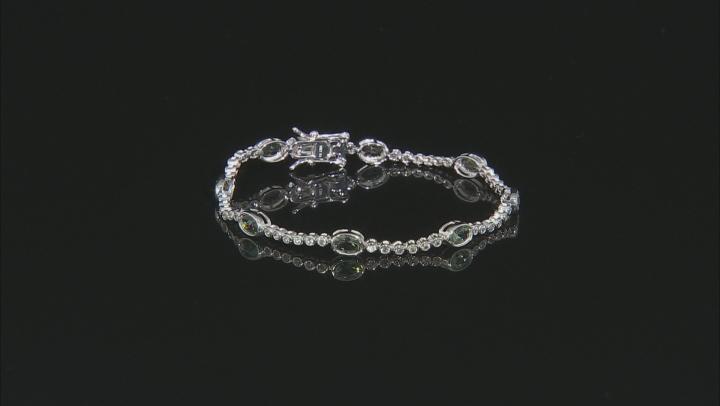 Green Oregon sunstone 10K white gold bracelet  4.42ctw