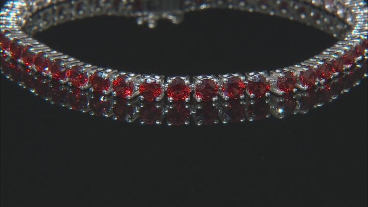 Red Garnet Rhodium Over Sterling Silver Tennis Bracelet 12.00ctw.