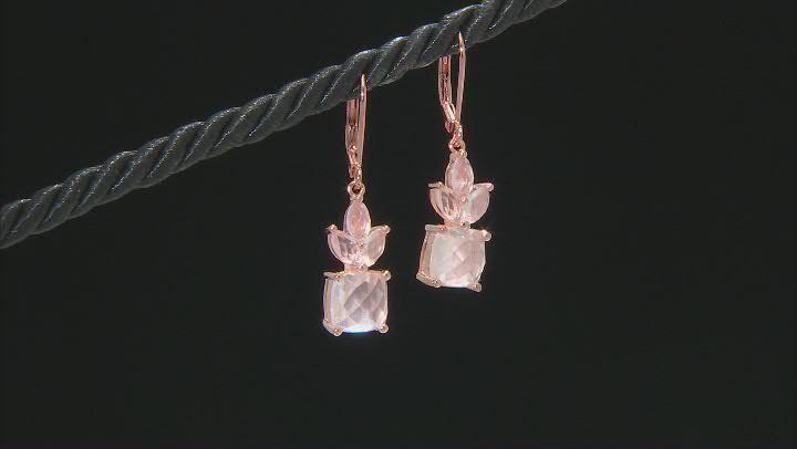 Pink Rose Quartz 18k Rose Gold Over Sterling Silver Dangle Earrings
