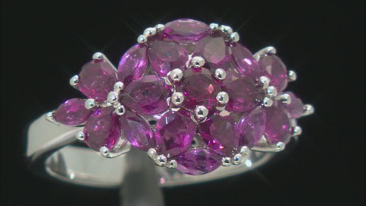 Purple Rhodolite Rhodium Over Sterling Silver Ring 2.54ctw