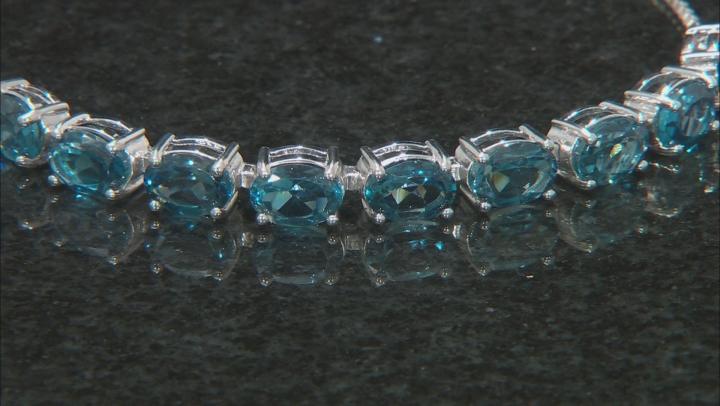 Blue Topaz Rhodium Over Silver Bolo Bracelet 7.19ctw