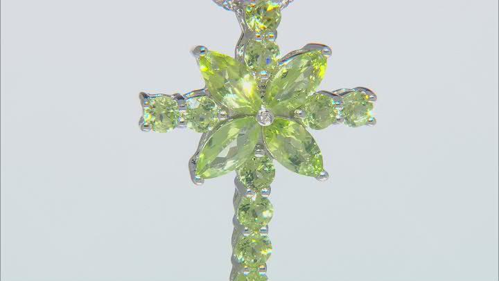 Green Peridot Rhodium Over Silver Cross Pendant With chain 2.93ctw